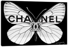 Chanel Wall Art, Canvas Prints & Paintings   iCanvas Chanel Room, Chanel Art, Logos Color, Chanel Canvas, Butterfly Canvas, Bleach Tie Dye, Butterfly Pictures, Black And White Aesthetic, Fashion Wall Art