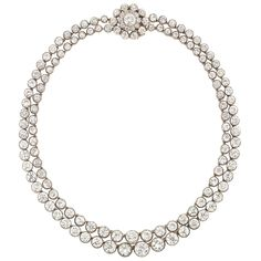Double Strand Diamond Riviere - 94.3 cttw - old mine-cut diamonds - clasp detachable tto use as pendant - strands detach to form two necklaces - two more clasps to connect the single strands into one long necklace - silver and gold - $209,000 at auction