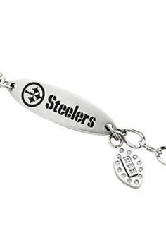 $79.20 - Pittsburgh Steelers Oval ID Bracelet      Pittsburgh Steelers Oval ID Bracelet       Quality - Stainless Steel     Size - 7.5 INCHES     Finish - Polished     Series Description - PITTSBURGH STEELERS TEAM BRACELET     Weight: 5.9 DWT ( 9.18 grams)     ST-BRC585       Visit our website at http://www.thesgdex.com   The Silver Gold & Diamond Exchange   WE BUY | SELL | TRADE | CONSIGN | AUCTION | APPRAISE