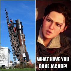The instalation's name is Train to heaven and it's located in Wrocław, Poland Assassins Creed Jacob, Assassins Creed Memes, Jacob And Evie Frye, Assassin's Creed Wallpaper, Video Game Logic, Templer, Train, Videogames, Games