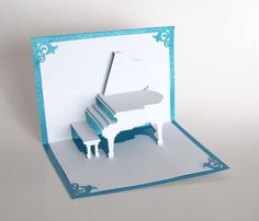 GRAND PIANO PopUp Greeting Card 3D Handmade Cut by by BoldFolds