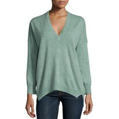 Michael Kors Collection Cashmere V-Neck Tunic (€425) ❤ liked on Polyvore featuring tops, tunics, celadon multi, v neck tunic, michael kors tunic, michael kors, long sleeve v neck top and vneck tops