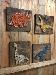Dinosaur Set Sting Art - Dino Decor - T Rex Art - Triceratops Decor - String Art - Boys Room Decor -
