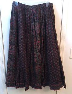 Vintage 80's Indigo Cotton Skirt Brown Red &