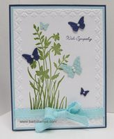 Pretty way to use this embossing folder, stamp and butterfly punch.