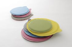 H Concept's +d brand's zabuton come in variety of pop-color combinations and use rubber-like and felt-like materials.