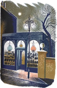 """Eric Ravilious: 'Pharmaceutical Chemist, London' from """"High Street"""", 1938 (lithograph)"""