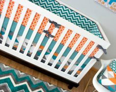 Baby Bedding, CribSet, Crib Bedding, Turquoise Orange Gray Geometric Elephant Nursery