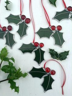 Stained Glass Holly Sun CatcherDeep Green & Red GlassHome or