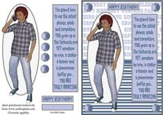 Life's a TEEN by Lorraine Appleby Fun card for teenage lads and young men!   All easy cuts and quick to make up, there is also a blank tag.  I have created many teen inserts that can be used with this design....please click on my name and have a peep.