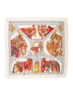 Creme and multicolor Hermès silk scarf with 'La Danse du Cheval Marwari' motif and hand-rolled edges. Turbans, Silk Scarves, Hermes Scarves, Hermes Paris, Designer Scarves, Scarf Design, Equestrian Style, A Boutique, Vintage Outfits