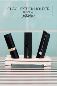 DIY lipstick holder {love this idea for all cosmetics, especially if you are consistent with your brand}