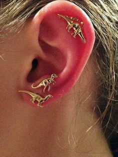 Cute Unique Multiple Ear Piercing Ideas for Teenagers - Dinosaur Cartilage Helix Ear Lobe Stud Earrings in Gold or Silver - aretes de dinosaurio orejas piercing ideas- www.MyBodiArt.com