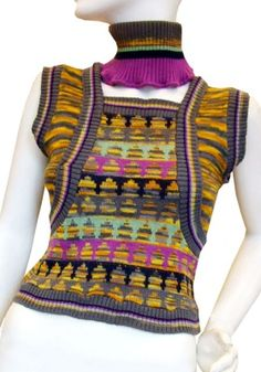 1970's Bill Gibb knitted Bee Hive tank top with matching knitted choker