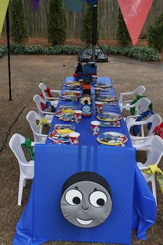 """Train Table- how cute! Saving this in case he wants a """"Thomas the Train"""" party Thomas Birthday Parties, Thomas The Train Birthday Party, Trains Birthday Party, Train Party, Birthday Party Themes, Boy Birthday, Car Party, Pirate Party, Second Birthday Ideas"""