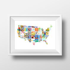 Kids artwork transformed into a wall decor poster. USA Map represented with kids art and crafts. Will look great in a kids room or in a family living space. - Kids art display for their room - Up to 8