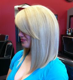 A hot new hair trend! The long angeled bob.
