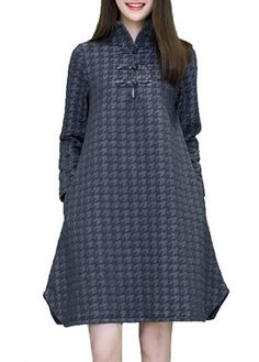 Chinese Button Grey Long Sleeve Curved Dress on sale only US$36.32 now, buy cheap Chinese Button Grey Long Sleeve Curved Dress at lulugal.com