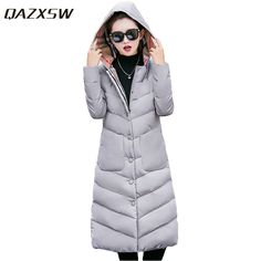 QAZXSW Women Winter Jacket For Woman Warm Outwear Plus Size Hooded Jacket X-Long Cotton Coat Thick Padded Abrigos Mujer HB068 #Affiliate