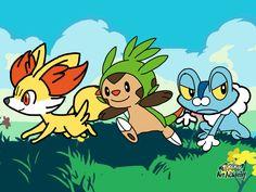 Pokemon Art Academy - Kalos starters by Rebeccachu-Chan.deviantart.com on @DeviantArt
