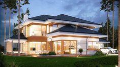 Projekt domu Dom z widokiem 269,44 m² - koszt budowy - EXTRADOM Luxury House Plans, Modern House Plans, Modern House Design, House Floor Plans, Layouts Casa, House Layouts, Big Houses Inside, Building Exterior, Building A House