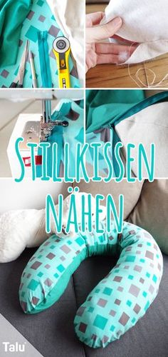 Sewing nursing pillow yourself - free pattern with sewing pattern - Talu.de, Instructions and pattern - sewing nursing pillows - Talu. Cute Pillows, Baby Pillows, Sewing Hacks, Sewing Tutorials, Sewing Tips, Mini Mister, Knitting Patterns, Sewing Patterns, Pillow Tutorial