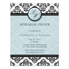 Damask Wedding Rehearsal Cards Tiffany Damask Monogram Rehearsal Dinner Card