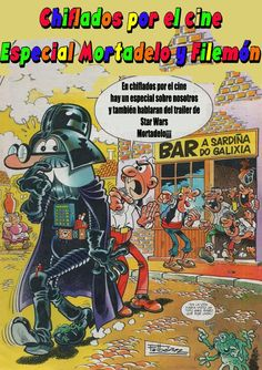 May the Force be with you, Mortadelo! Magazines For Kids, Cover Art, Nostalgia, Star Wars, Anime, Historia Universal, Grande, Motorcycles, Cartoons