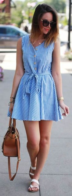 Fashionably Kay Striped Little Sundress Summer Fashion Outfits, Women's Fashion Dresses, Spring Outfits, Casual Dresses, Short Dresses, Casual Outfits, Cute Outfits, Summer Dresses, Super Moda