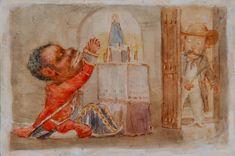 Calesero Rezándole a La Virgen (Cochero La oración a la Virgen) Víctor Patricio Landaluze ca 1880 tinta y acuarela sobre papel grueso establecidas a bordo de 3 3/4 x 5 5/8 pulgadas 04503