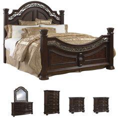 Tuscany 6 Piece Mocha Finish King Size Bedroom Set Free Shipping Today