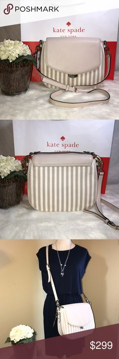 """*REDUCED*AUTHENTIC KATE SPADE MULBERRY ST FABRIC 100% Authentic Kate Spade ♠️ Buy with confidence!MSRP: $359.00 Style: WKRU4412 Kate Spade New York Mulberry street fabric convertible shoulder bag with gold toned hardware. Great for casual or dress occasions.Features:Beige Leather/Fabric Kate Spade Logo Magnetic Snap Clasp in Light Gold Front Flap with Magnetic Snap Closure, Handle Drops 6 Inch Shoulder Strap is Matching beige Leather with a Strap Drop of App. 22.5 Inch 11""""(L) x 8 1/2"""" (H) x…"""