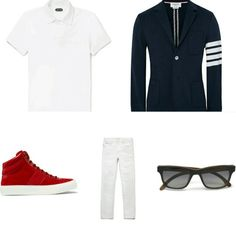 Luxe zomerset. Polo #TomFord | Blazer #ThomBrowne | Sneakers #JimmyChoo | Jeans #GIVENCHY | Zonnebril #Isaia | all from Mr. Porter