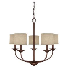 Bronzed chandelier with fabric drum shades.   Product: ChandelierConstruction Material: Metal and fabric...