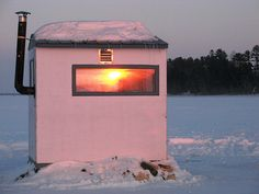 Here's a gallery of ten ice fishing shacks that I thought were cool, unique, or fun in their own right. I swear, I'll be of. Ice Fishing Shanty, Ice Shanty, Ice Fishing Huts, Fishing Shack, Camping Life, Camping Hacks, Camping Lunches, Fish Hut, Ice Houses