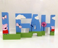 NEW PRODUCT Hand Painted Letter Peppa Pig Design Large by DimensionalArtUK