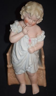 Antique Doll Bisque Heubach Piano Baby Character Figurine