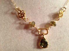 Green Necklace  Gold Jewelry  Tourmaline by jewelrybycarmal, $60.00
