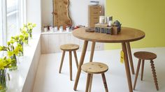 Inside Galvin Brothers: The Shop. New Pippy Oak Round Dining Table #furniture #design #handmade #oak #stool