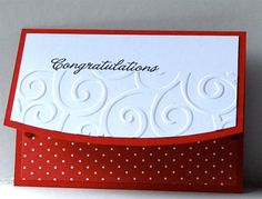 These handmade Congratulations Gift Card Holders add the perfect handmade look and feel to a store bought gift card. Gift Card Holders come red