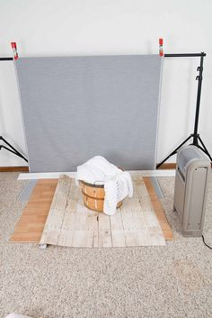 DIY photo backdrop and photo shoot set up.