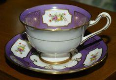 "Vintage Royal Albert Bone China Teacup and Saucer ""Japonica"" hand Painted Painted Flowers, All Things Purple, Royal Albert, China Dinnerware, Tea Cup Saucer, Vintage Tea, Teacups, Bone China, Tea Time"