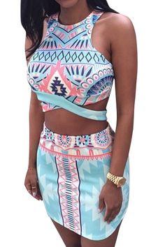 Sleeveless Argyle Print Crop Top And Skirt Suit LIGHT BLUE: Skirts | ZAFUL