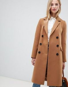 Warehouse - Cappotto doppiopetto color cammello 30532d17e97