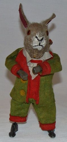EARLY 1900's GUNTHERMANN GERMANY MARTIN BONNET WINDUP TOY EASTER BUNNY RABBIT #POSSIBLYMARTINBONNETORGUNTHERMANN