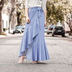 Look Fashion, Fashion Beauty, Womens Fashion, Long Striped Skirts, Summer Outfits, Cute Outfits, Evening Skirts, Casual Looks, Casual Wear