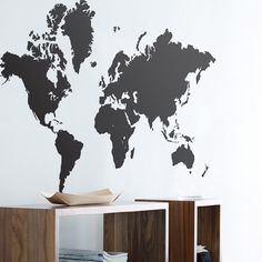A big map of the world. Great way tot decorate your home