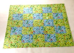Hand Made- Darling baby quilt blanket, Play Mat, Blue and Green with Graphic Words- Unisex