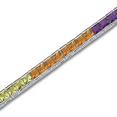 Princess Cut Rainbow Color Tennis Bracelet Sterling Silver $149.99 at joyfulcrown.com