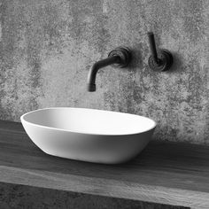 A freestanding basin, made from DADOquartz, available in . Accompanied by the JEE-O soho wall basin mixer. Bathroom Basin, Bathroom Fixtures, Bathroom Black, Small Bathroom, Bathroom Closet, Bathroom Colors, Washroom, Bathroom Cabinets, Master Bathroom